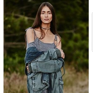 Free People Solid Knit Mixed Cargo Medieval Blue
